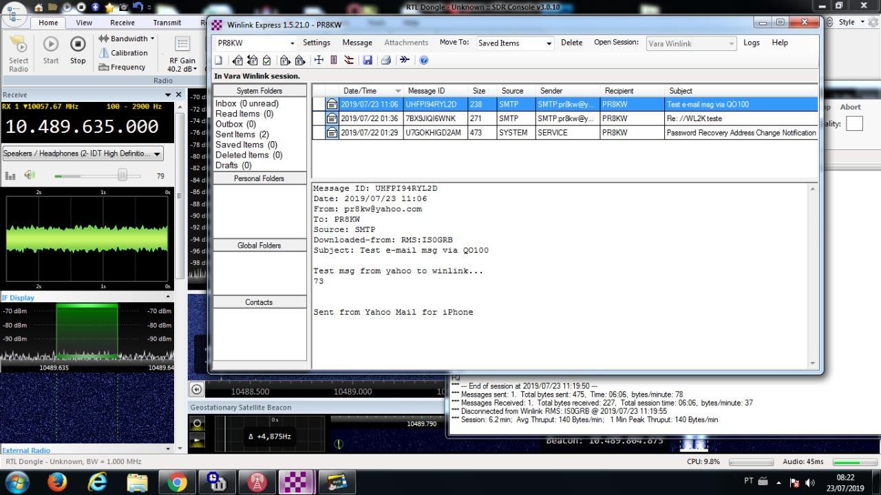 IS0GRB Winlink Server on QO-100 (Dial 10489635 0 USB
